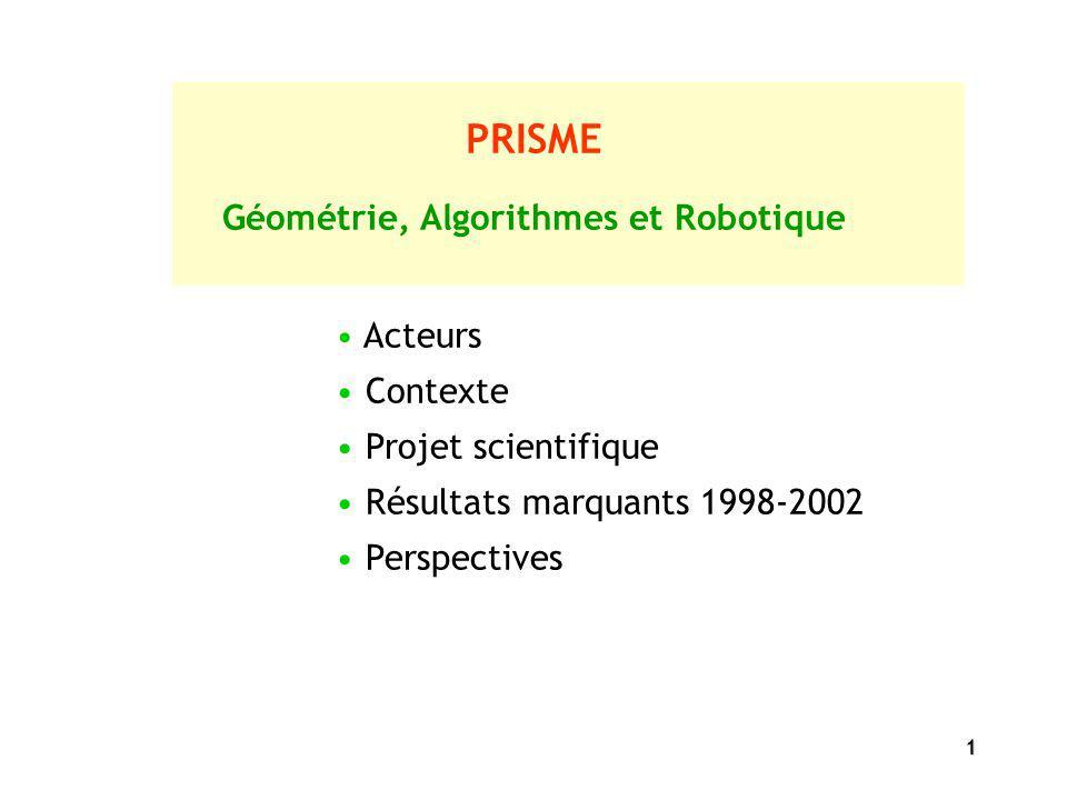 1 PRISME Géométrie, Algorithmes et Robotique Acteurs Contexte Projet scientifique Résultats marquants 1998-2002 Perspectives