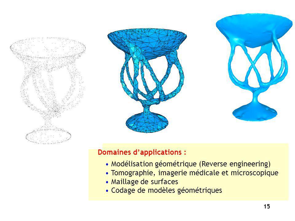 15 Modélisation géométrique (Reverse engineering) Tomographie, imagerie médicale et microscopique Maillage de surfaces Codage de modèles géométriques