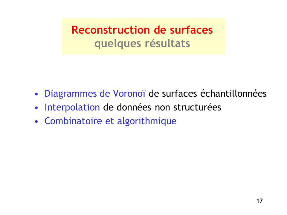 17 Reconstruction de surfaces quelques résultats Diagrammes de Voronoï de surfaces échantillonnées Interpolation de données non structurées Combinatoi