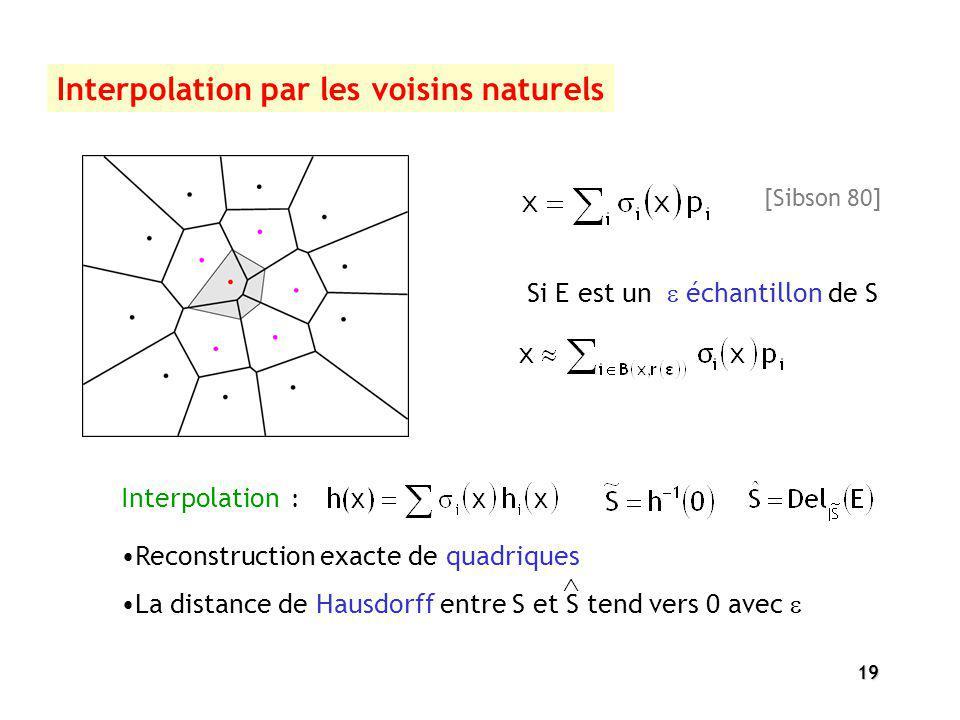 19 Interpolation par les voisins naturels [Sibson 80] Interpolation : La distance de Hausdorff entre S et S tend vers 0 avec Reconstruction exacte de