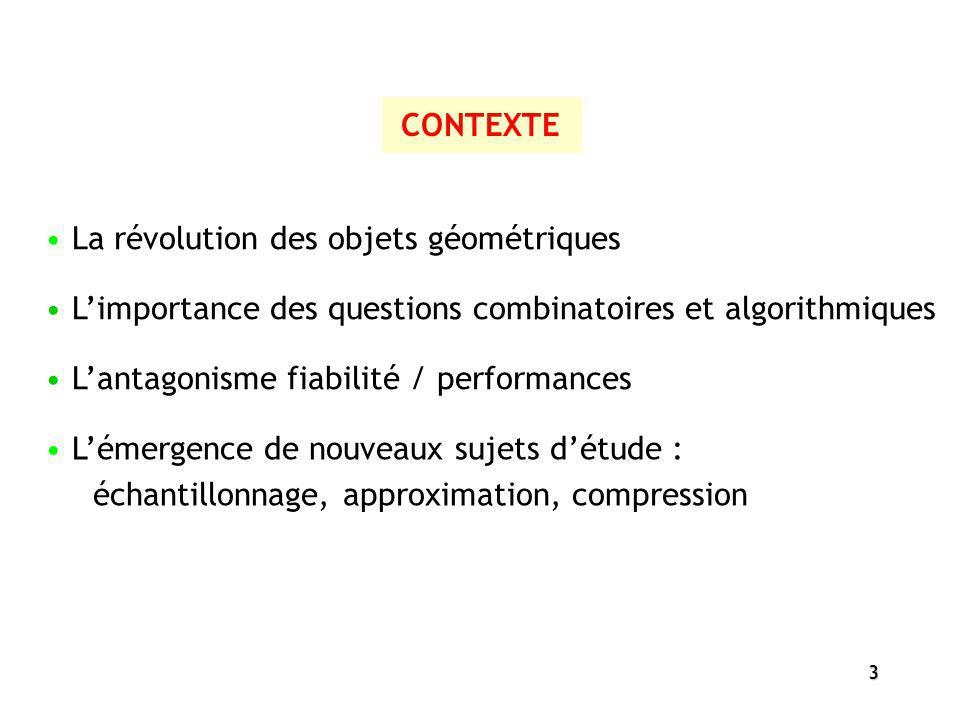 3 CONTEXTE La révolution des objets géométriques Limportance des questions combinatoires et algorithmiques Lantagonisme fiabilité / performances Lémer