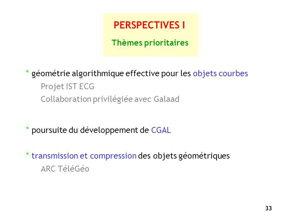 33 PERSPECTIVES I * poursuite du développement de CGAL * transmission et compression des objets géométriques ARC TéléGéo Thèmes prioritaires * géométr