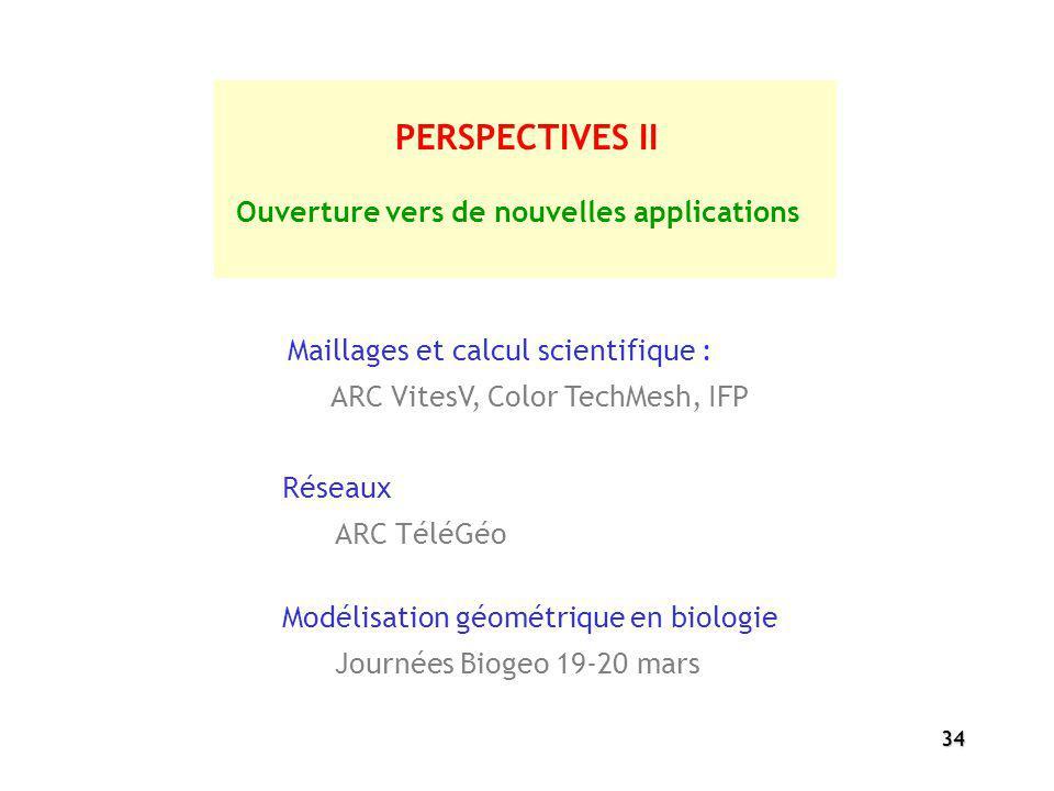 34 PERSPECTIVES II Maillages et calcul scientifique : ARC VitesV, Color TechMesh, IFP Ouverture vers de nouvelles applications Réseaux ARC TéléGéo Mod