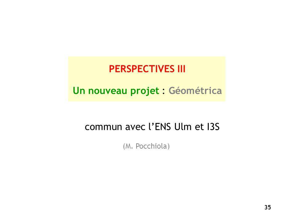 35 PERSPECTIVES III Un nouveau projet : Géométrica commun avec lENS Ulm et I3S (M. Pocchiola)