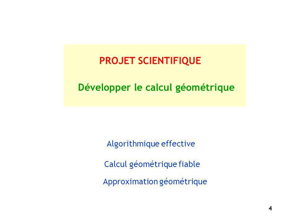 4 PROJET SCIENTIFIQUE Développer le calcul géométrique Algorithmique effective Calcul géométrique fiable Approximation géométrique