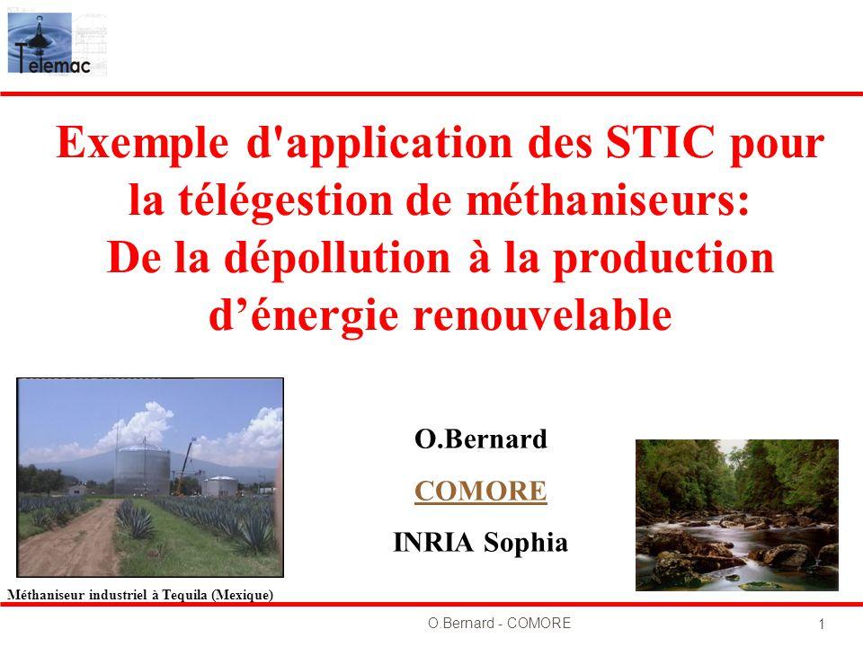 O.Bernard - COMORE 1 O.Bernard COMORE INRIA Sophia Exemple d'application des STIC pour la télégestion de méthaniseurs: De la dépollution à la producti