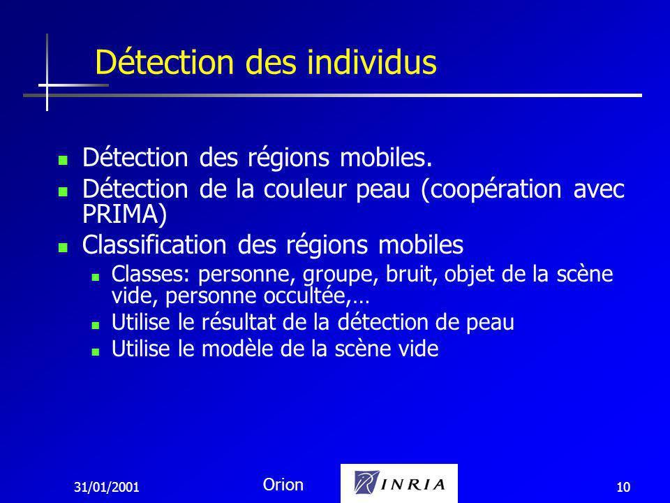 31/01/2001 Orion 10 Détection des régions mobiles.
