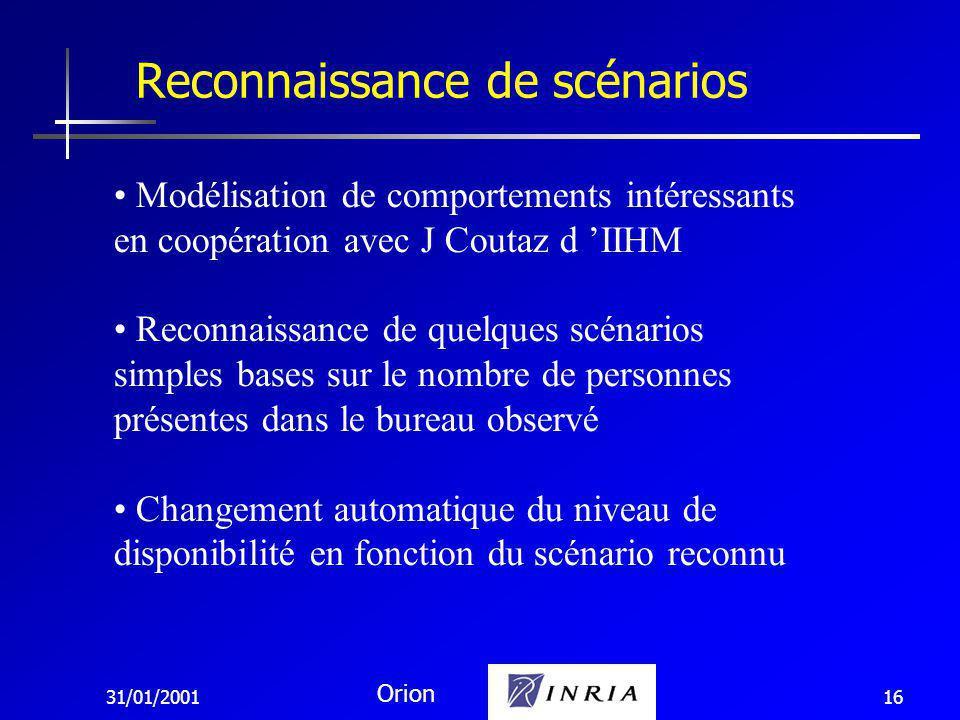 31/01/2001 Orion 16 Reconnaissance de scénarios Modélisation de comportements intéressants en coopération avec J Coutaz d IIHM Reconnaissance de quelques scénarios simples bases sur le nombre de personnes présentes dans le bureau observé Changement automatique du niveau de disponibilité en fonction du scénario reconnu