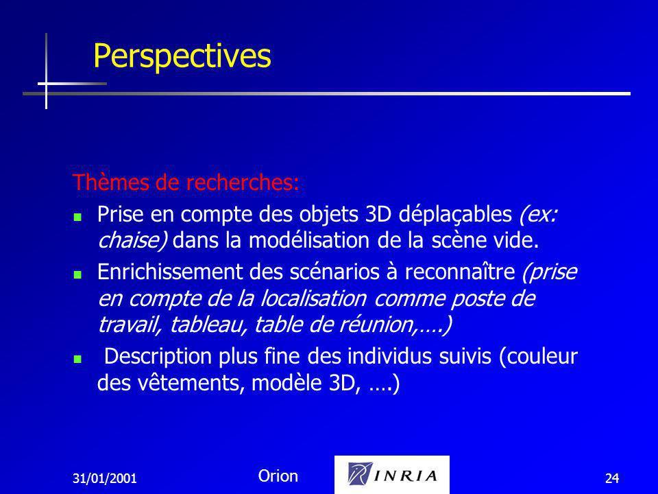 31/01/2001 Orion 24 Perspectives Thèmes de recherches: Prise en compte des objets 3D déplaçables (ex: chaise) dans la modélisation de la scène vide.