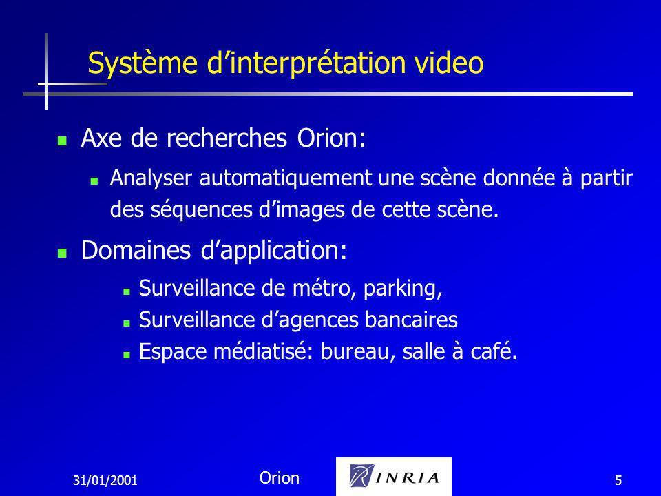 31/01/2001 Orion 5 Axe de recherches Orion: Analyser automatiquement une scène donnée à partir des séquences dimages de cette scène.