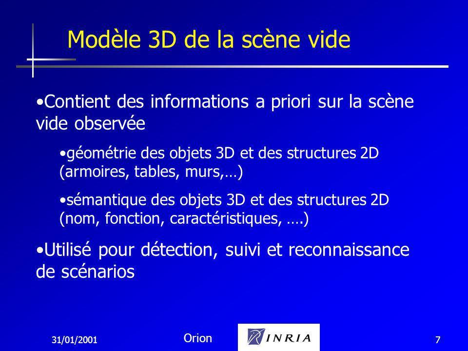 31/01/2001 Orion 7 Modèle 3D de la scène vide Contient des informations a priori sur la scène vide observée géométrie des objets 3D et des structures 2D (armoires, tables, murs,…) sémantique des objets 3D et des structures 2D (nom, fonction, caractéristiques, ….) Utilisé pour détection, suivi et reconnaissance de scénarios
