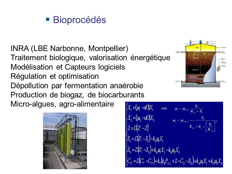 1 INRA (LBE Narbonne, Montpellier) Traitement biologique, valorisation énergétique Modélisation et Capteurs logiciels Régulation et optimisation Dépollution par fermentation anaérobie Production de biogaz, de biocarburants Micro-algues, agro-alimentaire Bioprocédés