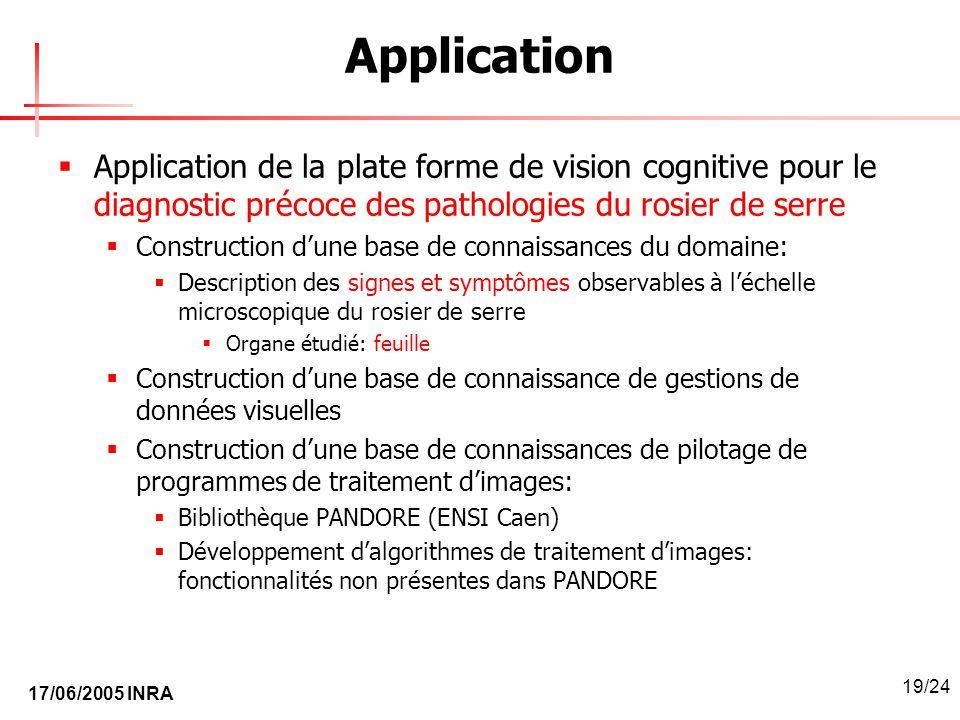 17/06/2005 INRA 19/24 Application Application de la plate forme de vision cognitive pour le diagnostic précoce des pathologies du rosier de serre Cons