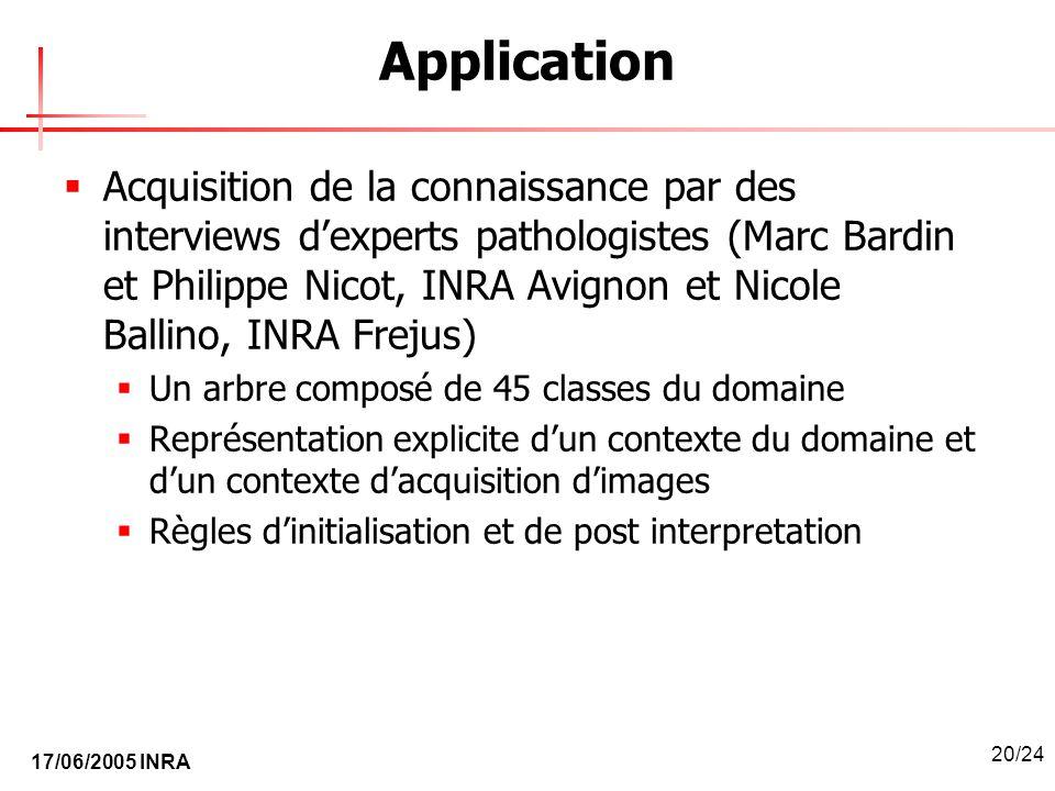 17/06/2005 INRA 20/24 Application Acquisition de la connaissance par des interviews dexperts pathologistes (Marc Bardin et Philippe Nicot, INRA Avigno