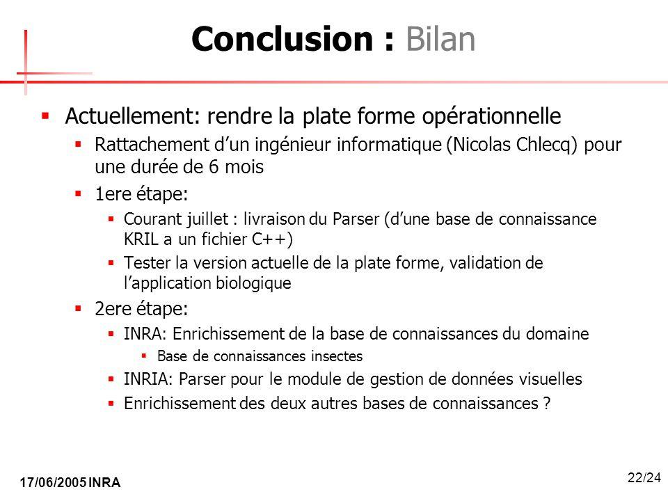 17/06/2005 INRA 22/24 Conclusion : Bilan Actuellement: rendre la plate forme opérationnelle Rattachement dun ingénieur informatique (Nicolas Chlecq) p