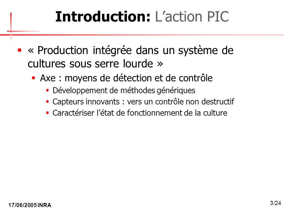 17/06/2005 INRA 3/24 Introduction: Laction PIC « Production intégrée dans un système de cultures sous serre lourde » Axe : moyens de détection et de c