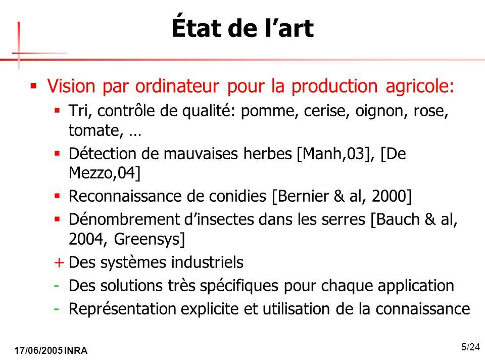 17/06/2005 INRA 5/24 État de lart Vision par ordinateur pour la production agricole: Tri, contrôle de qualité: pomme, cerise, oignon, rose, tomate, …