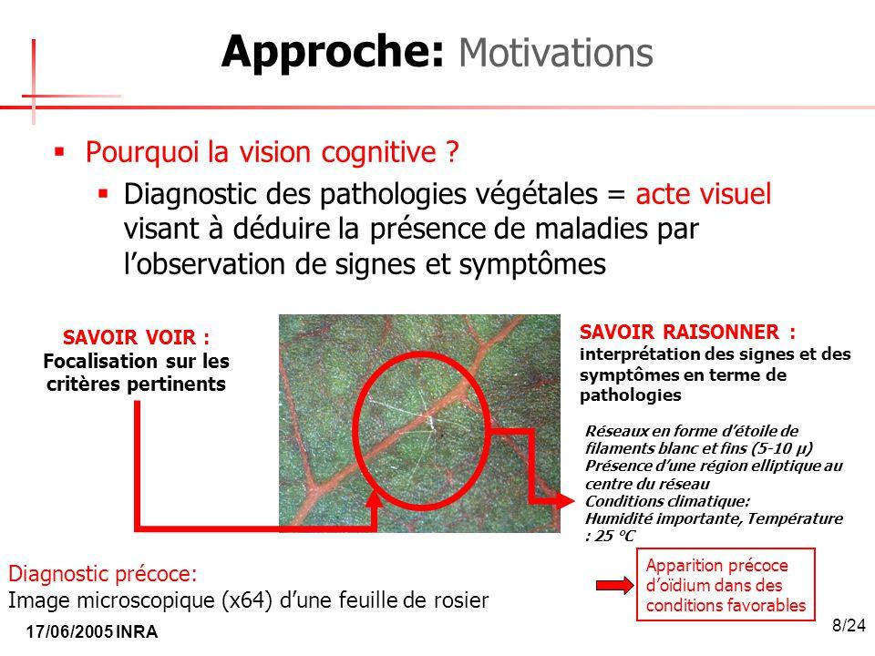 17/06/2005 INRA 8/24 Approche: Motivations Pourquoi la vision cognitive ? Diagnostic des pathologies végétales = acte visuel visant à déduire la prése