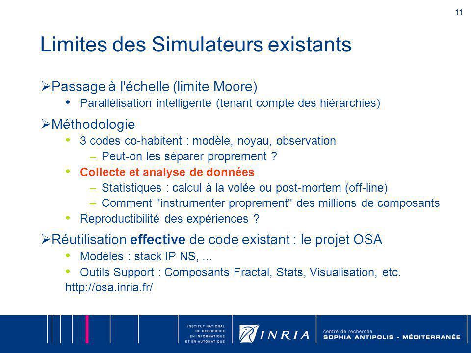 11 Limites des Simulateurs existants Passage à l échelle (limite Moore) Parallélisation intelligente (tenant compte des hiérarchies) Méthodologie 3 codes co-habitent : modèle, noyau, observation –Peut-on les séparer proprement .