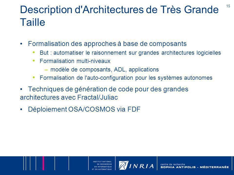 15 Description d'Architectures de Très Grande Taille Formalisation des approches à base de composants But : automatiser le raisonnement sur grandes ar