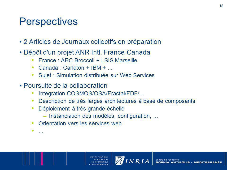 18 Perspectives 2 Articles de Journaux collectifs en préparation Dépôt d'un projet ANR Intl. France-Canada France : ARC Broccoli + LSIS Marseille Cana