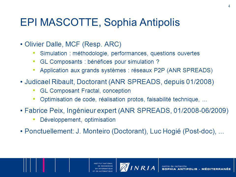 4 EPI MASCOTTE, Sophia Antipolis Olivier Dalle, MCF (Resp. ARC) Simulation : méthodologie, performances, questions ouvertes GL Composants : bénéfices