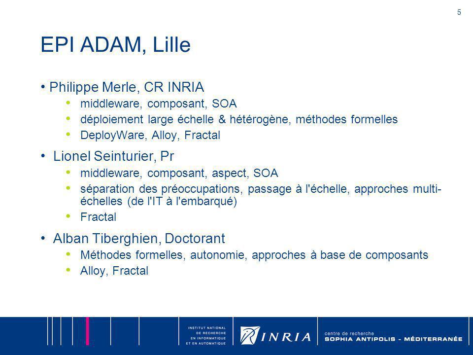 5 EPI ADAM, Lille Philippe Merle, CR INRIA middleware, composant, SOA déploiement large échelle & hétérogène, méthodes formelles DeployWare, Alloy, Fr