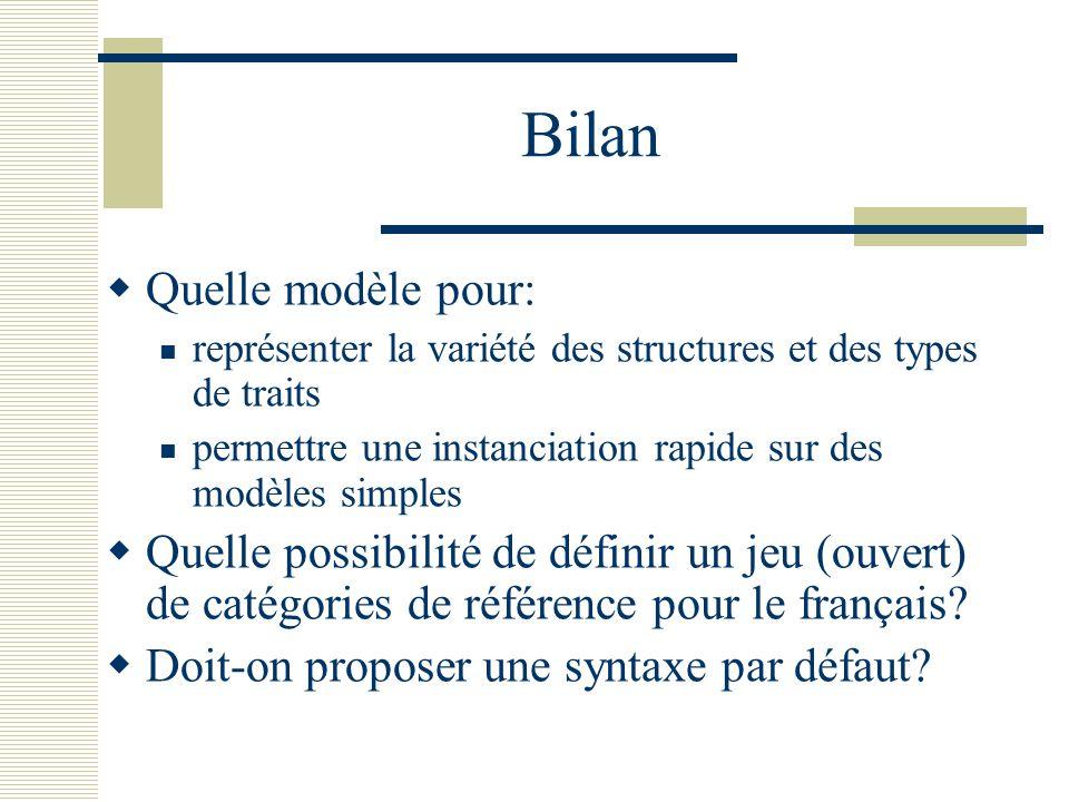 Bilan Quelle modèle pour: représenter la variété des structures et des types de traits permettre une instanciation rapide sur des modèles simples Quelle possibilité de définir un jeu (ouvert) de catégories de référence pour le français.