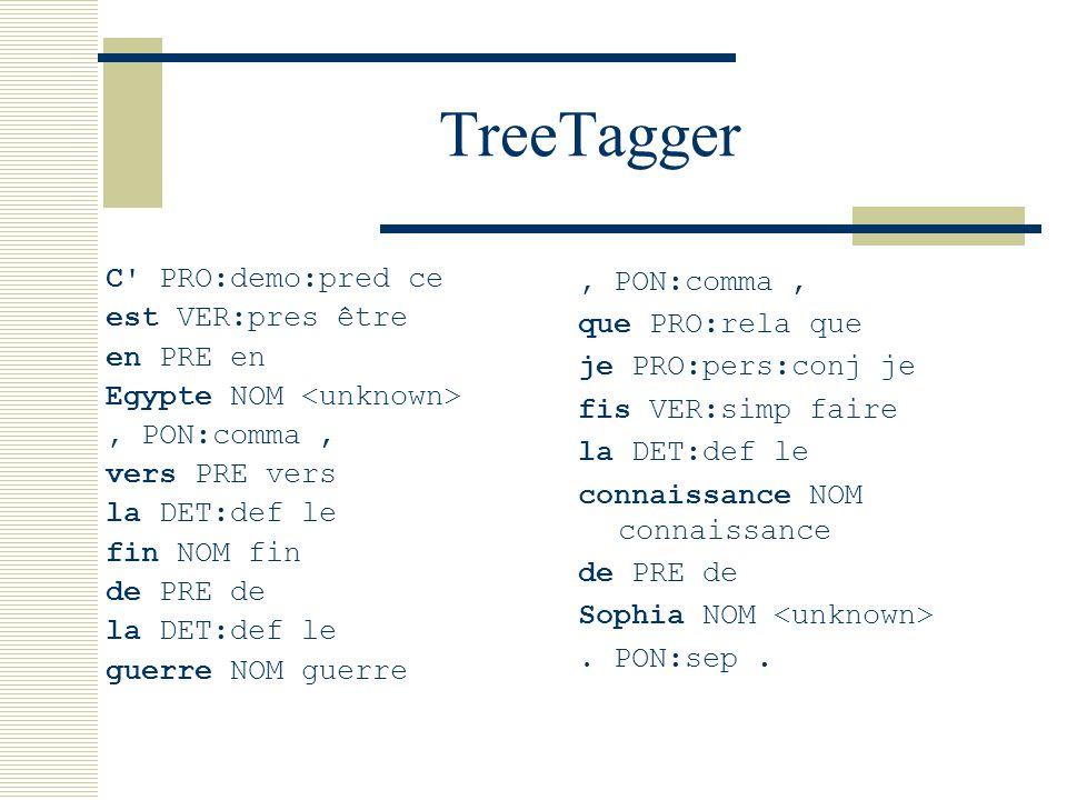 TreeTagger C PRO:demo:pred ce est VER:pres être en PRE en Egypte NOM, PON:comma, vers PRE vers la DET:def le fin NOM fin de PRE de la DET:def le guerre NOM guerre, PON:comma, que PRO:rela que je PRO:pers:conj je fis VER:simp faire la DET:def le connaissance NOM connaissance de PRE de Sophia NOM.