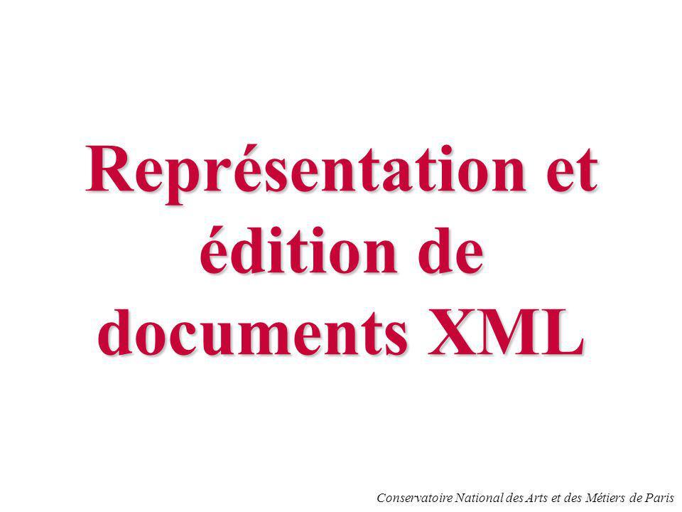 Conservatoire National des Arts et des Métiers de Paris Représentation et édition de documents XML