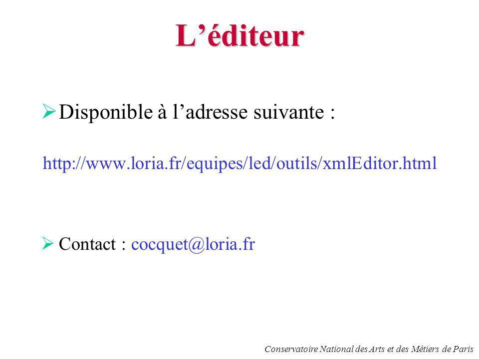 Léditeur Disponible à ladresse suivante : http://www.loria.fr/equipes/led/outils/xmlEditor.html Contact : cocquet@loria.fr