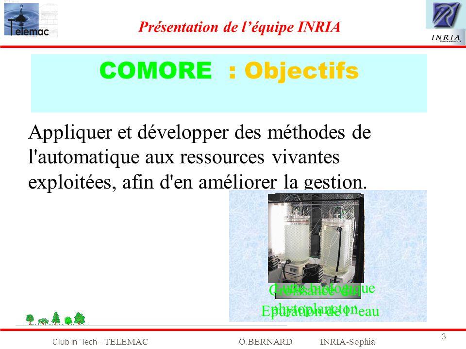 Club In Tech - TELEMACO.BERNARD INRIA-Sophia 3 COMORE : Objectifs Appliquer et développer des méthodes de l'automatique aux ressources vivantes exploi