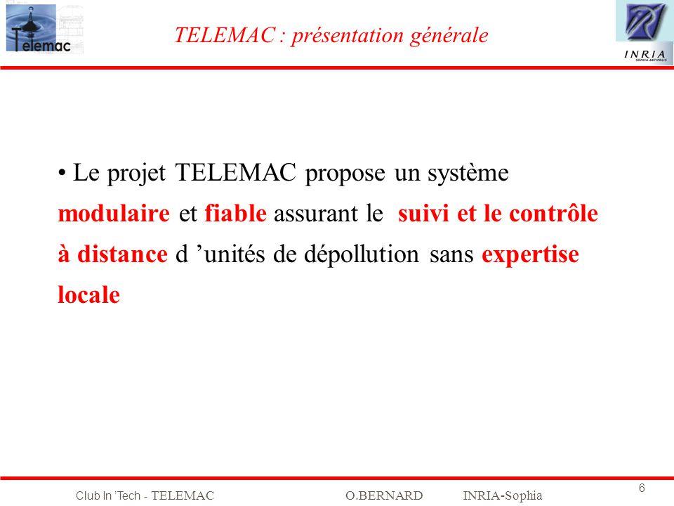 Club In Tech - TELEMACO.BERNARD INRIA-Sophia 6 Le projet TELEMAC propose un système modulaire et fiable assurant le suivi et le contrôle à distance d