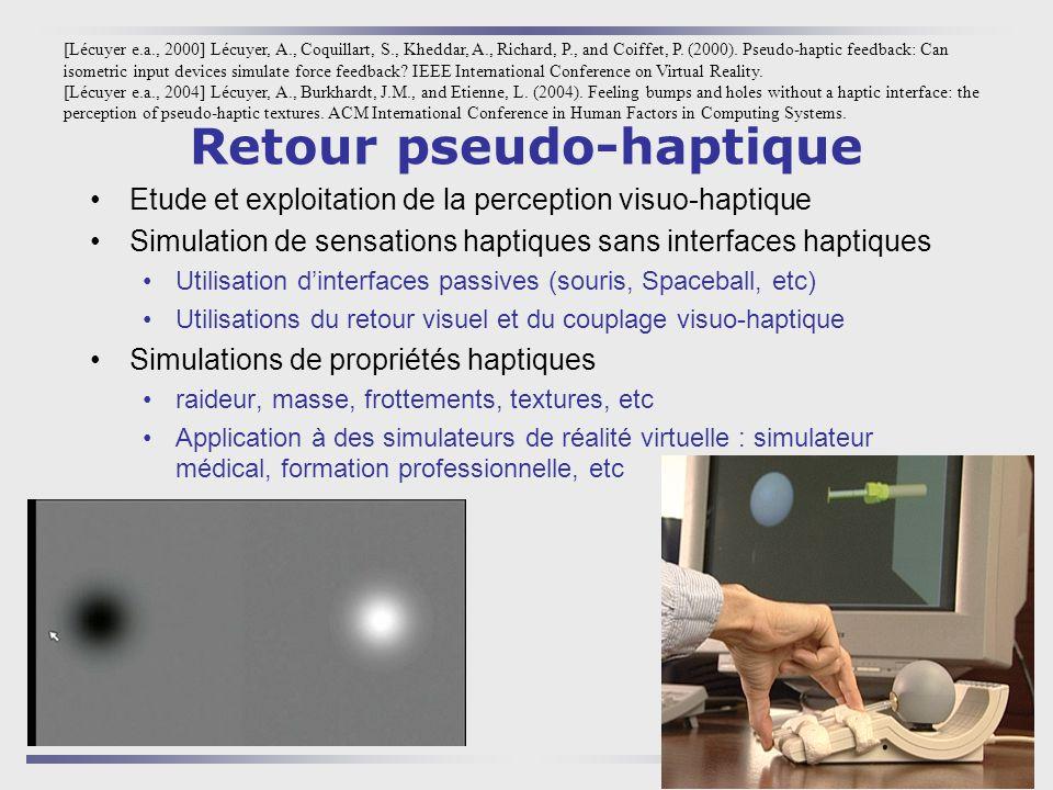 5 Retour pseudo-haptique Etude et exploitation de la perception visuo-haptique Simulation de sensations haptiques sans interfaces haptiques Utilisatio