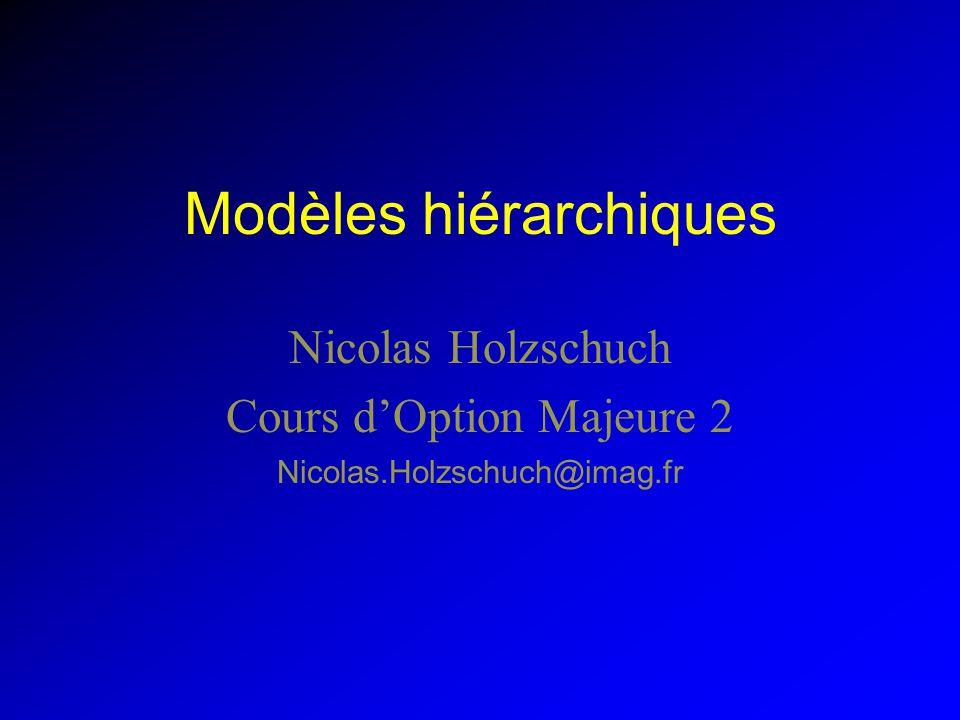 Modèles hiérarchiques Nicolas Holzschuch Cours dOption Majeure 2 Nicolas.Holzschuch@imag.fr