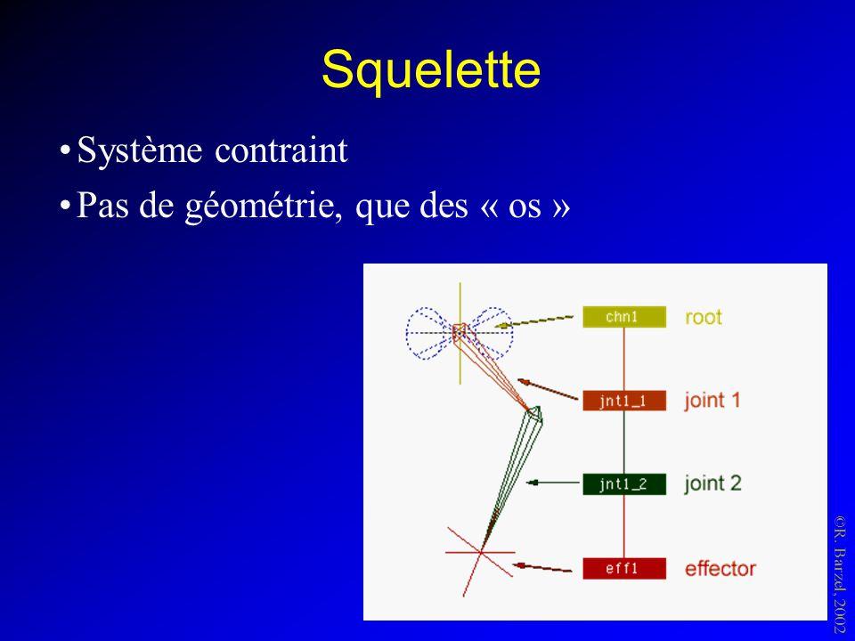 Squelette Système contraint Pas de géométrie, que des « os » ©R. Barzel, 2002