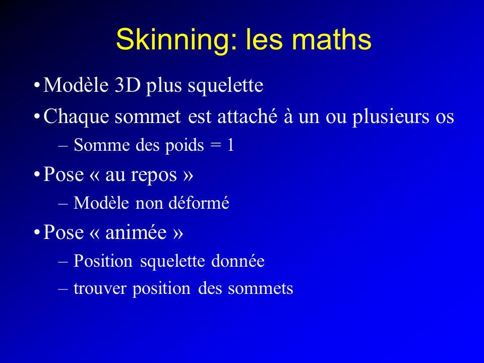 Skinning: les maths Modèle 3D plus squelette Chaque sommet est attaché à un ou plusieurs os –Somme des poids = 1 Pose « au repos » –Modèle non déformé