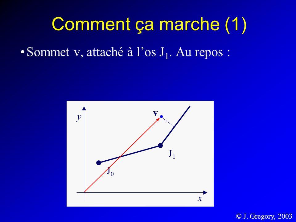 Comment ça marche (1) Sommet v, attaché à los J 1. Au repos : J1J1 J0J0 y x v © J. Gregory, 2003