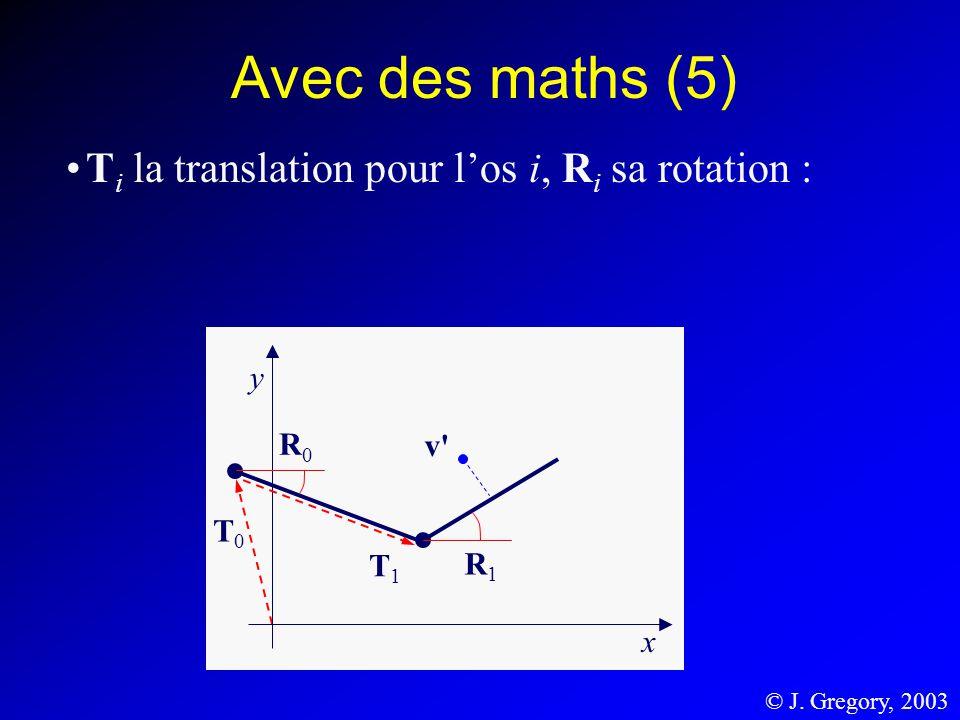 Avec des maths (5) T i la translation pour los i, R i sa rotation : T0T0 y x T1T1 R0R0 R1R1 v' © J. Gregory, 2003