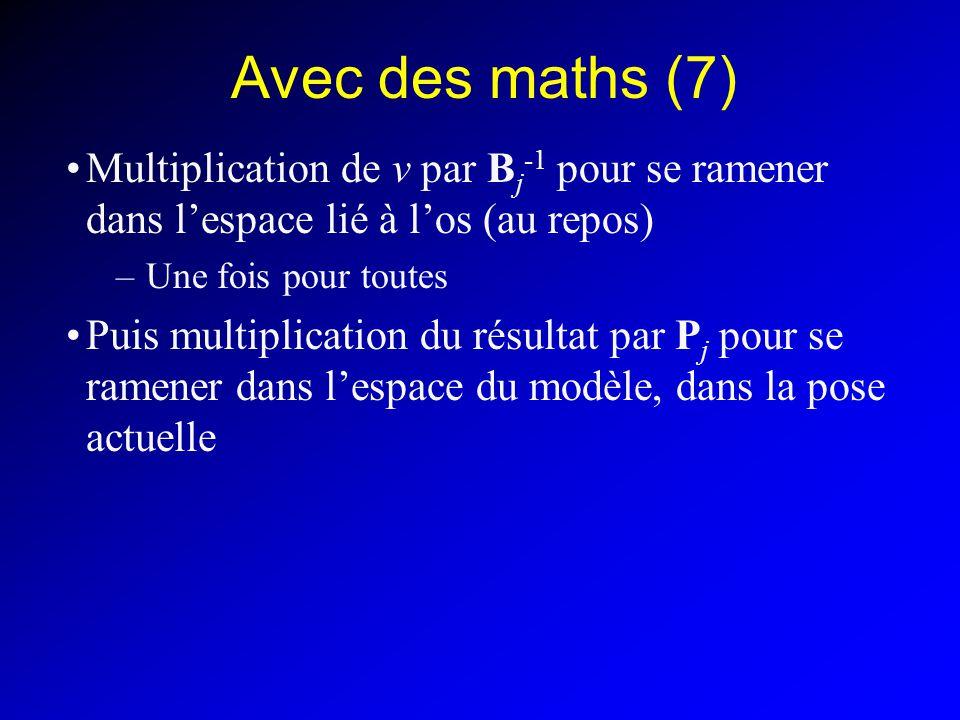 Avec des maths (7) Multiplication de v par B j -1 pour se ramener dans lespace lié à los (au repos) –Une fois pour toutes Puis multiplication du résul