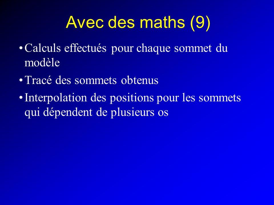Avec des maths (9) Calculs effectués pour chaque sommet du modèle Tracé des sommets obtenus Interpolation des positions pour les sommets qui dépendent