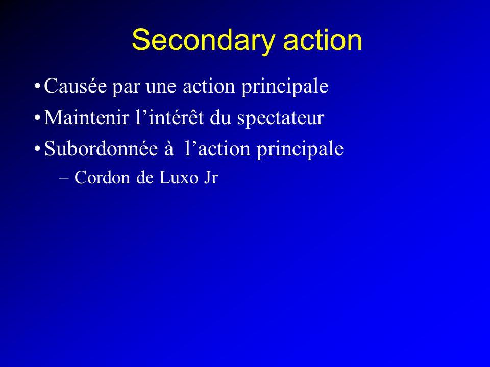 Secondary action Causée par une action principale Maintenir lintérêt du spectateur Subordonnée à laction principale –Cordon de Luxo Jr