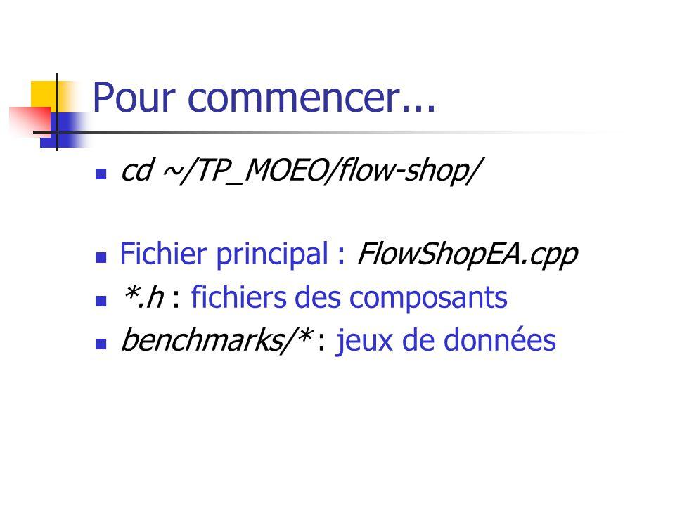 Pour commencer... cd ~/TP_MOEO/flow-shop/ Fichier principal : FlowShopEA.cpp *.h : fichiers des composants benchmarks/* : jeux de données