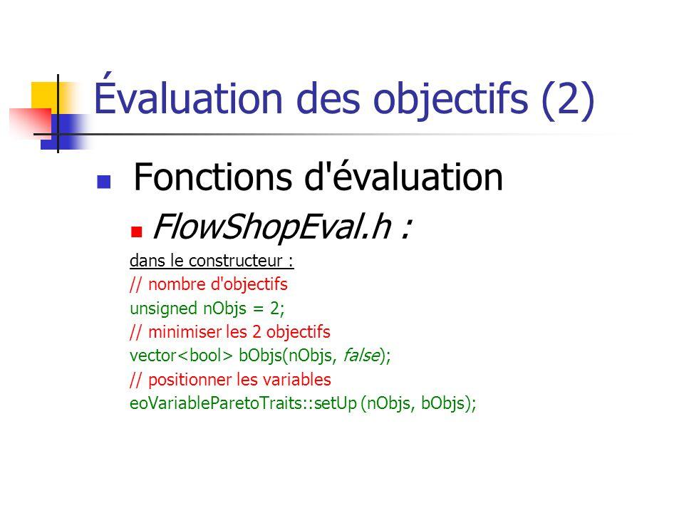 Évaluation des objectifs (2) Fonctions d évaluation FlowShopEval.h : dans le constructeur : // nombre d objectifs unsigned nObjs = 2; // minimiser les 2 objectifs vector bObjs(nObjs, false); // positionner les variables eoVariableParetoTraits::setUp (nObjs, bObjs);