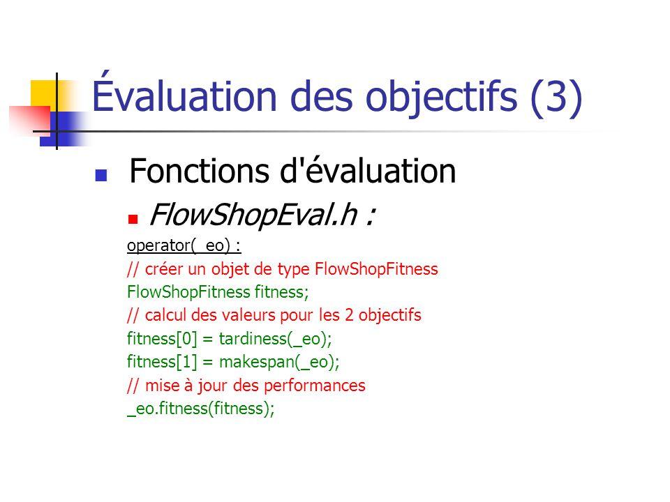 Évaluation des objectifs (3) Fonctions d évaluation FlowShopEval.h : operator(_eo) : // créer un objet de type FlowShopFitness FlowShopFitness fitness; // calcul des valeurs pour les 2 objectifs fitness[0] = tardiness(_eo); fitness[1] = makespan(_eo); // mise à jour des performances _eo.fitness(fitness);