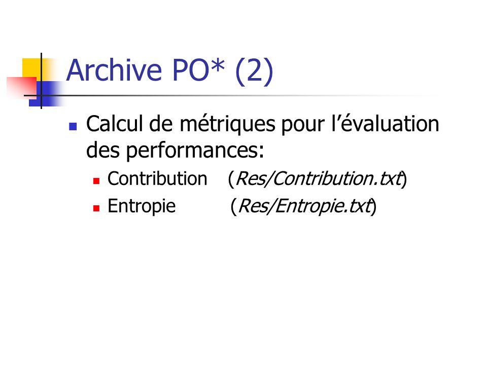 Archive PO* (2) Calcul de métriques pour lévaluation des performances: Contribution (Res/Contribution.txt) Entropie (Res/Entropie.txt)