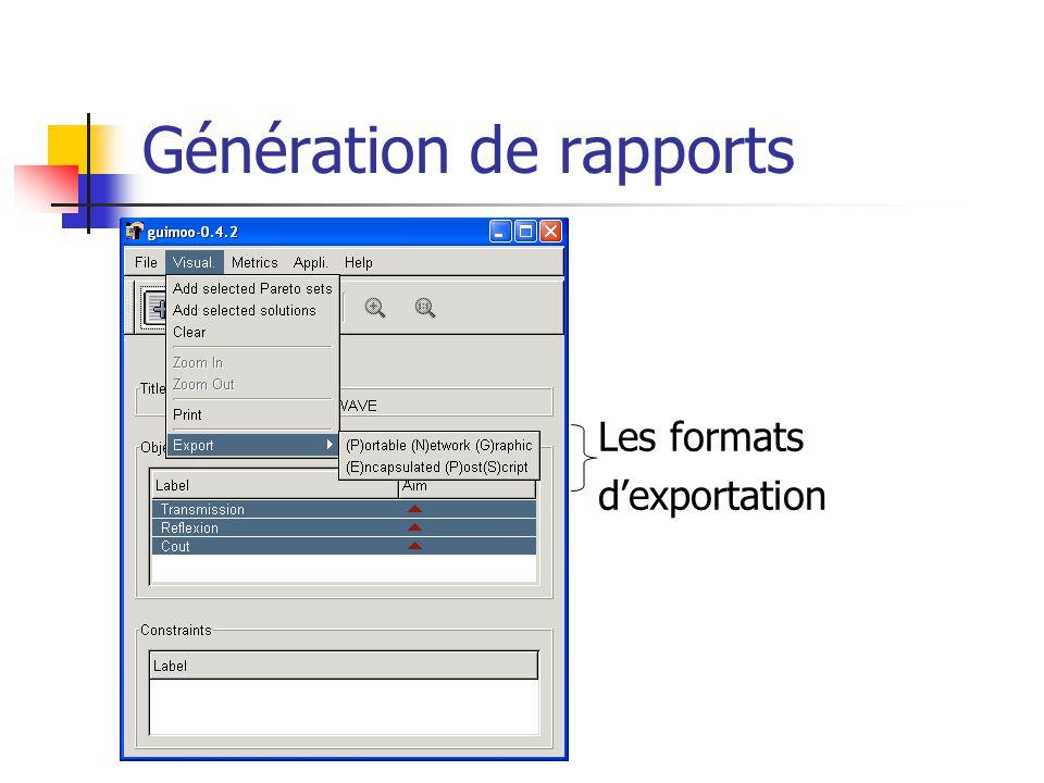 Génération de rapports Les formats dexportation