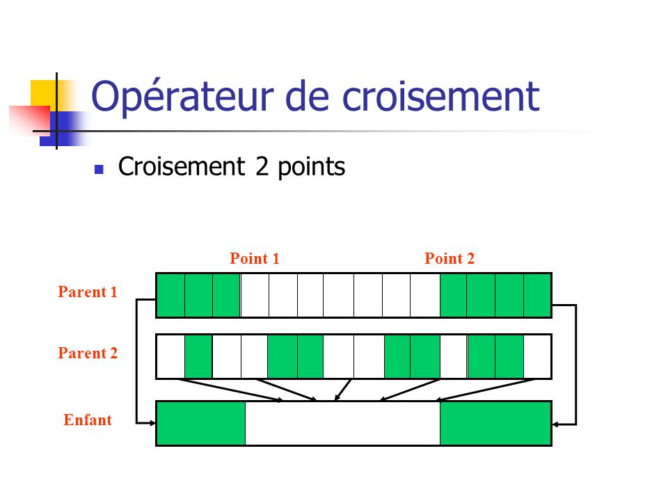 Opérateur de croisement Croisement 2 points Point 1Point 2 Enfant Parent 1 Parent 2