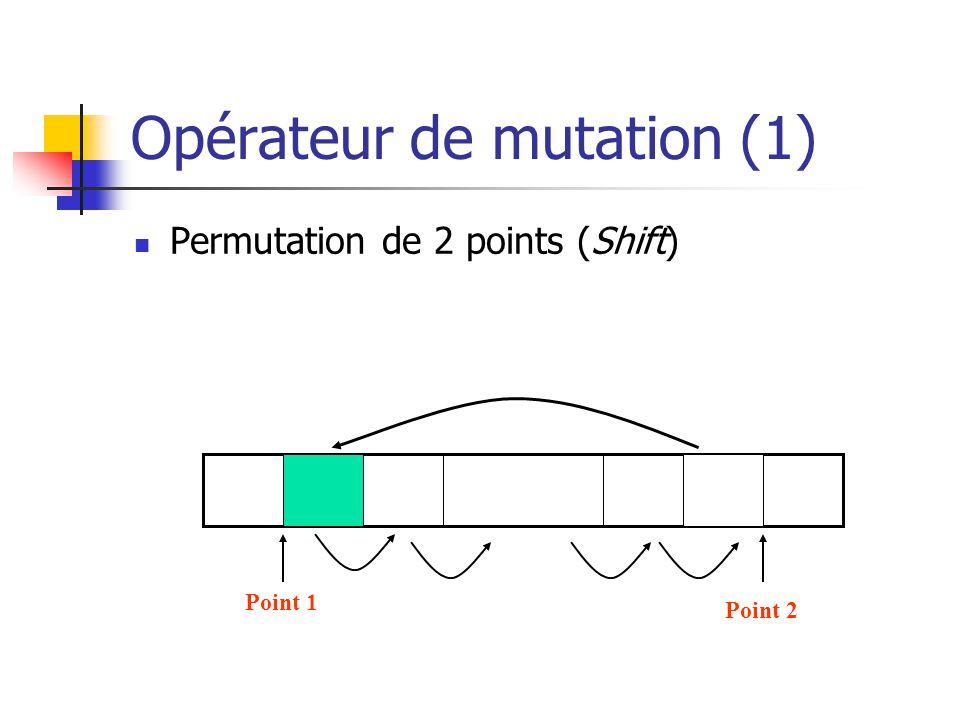 Opérateur de mutation (1) Permutation de 2 points (Shift) Point 1 Point 2