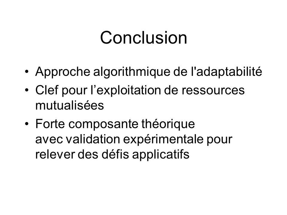 Conclusion Approche algorithmique de l'adaptabilité Clef pour lexploitation de ressources mutualisées Forte composante théorique avec validation expér
